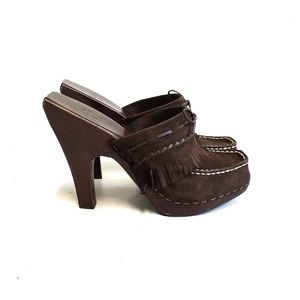 FRYE New Lacey Brown Suede High Heel Mules Size 10